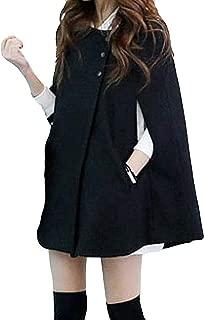 Wokasun.JJ Women Plus Size Fashion Solid Cloak Button Long Coat Shawl Windbreaker