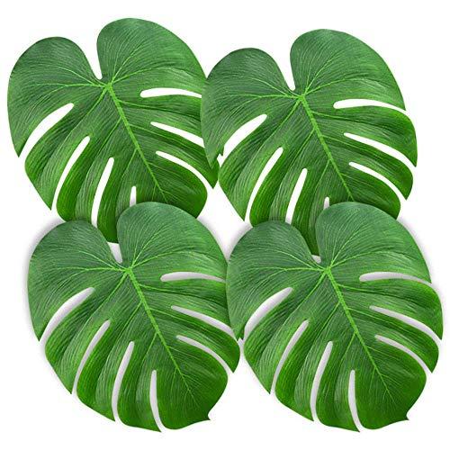 DIYARTS 90PCS 3 Tamaño Artificial Hojas Tropicales Ligero Verde Jungla Hawaiana Fiesta Party Beach Decoraciones Temáticas para Baile Boda Mesa Comedor BBQ