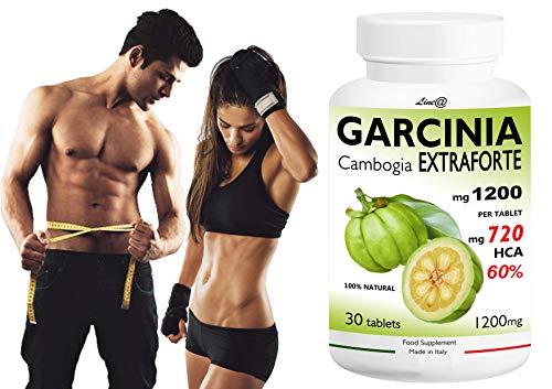 GARCINIA CAMBOGIA EXTRAFORTE 1200mg per compressa - 30 CPR - 100% PURE (720mg HCA per cpr) 100% NATURALE Bruciagrassi /Fame Nervosa) Prodotto ITALIANO