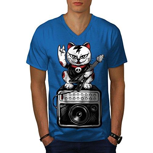 wellcoda Katze Kätzchen Rock Star MännerV-Ausschnitt T-Shirt Musik Grafikdesign-T-Stück
