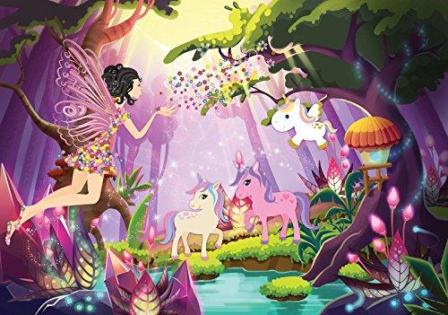 Welt-der-träume | papier peint intissé 130 g/m² | Fée et licorne | | 11707 _ Ve-aw | Licorne enfant cheval Animal Rainbow Fairy Forest, Multicoloured, VEM