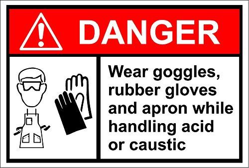 Danger draag een bril, rubberen handschoenen tijdens het hanteren van zuur of bijtend teken - Zelfklevende sticker 300mm x 200mm