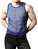 JOGAL Men's Mesh Fishnet Fitted Muscle Top X-Small WG01 Blue