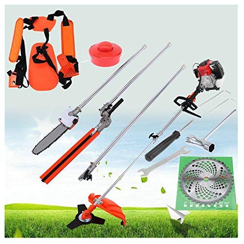 Kuhxz 5 in 1 52cc Petrol Hedge Trimmer Chainsaw Brush Cutter Pole Saw Outdoor Garden Tool Gas String Trimmer Included Brush Cutter, Pruner, Strimmer, Adjusted Hedge Trimmer and Extension Pole