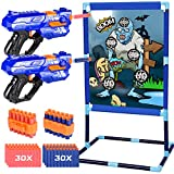 Quanquer Shooting Game Toy Gifts for 6 7 8 9+ Boys and Girls, 2 Pack Foam Ball Popper Air Toy Guns with Zombie Practice Shooting Target, Indoor Outdoor Games Kids Toys Compatible with Nerf Guns