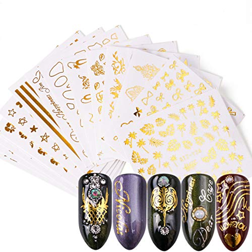 20 Sheets Nail Art Water Decals Water Transfer Sticker Gold Different Patterns Decals for Fingernails and Toenails Manicure(20sheets) 10042