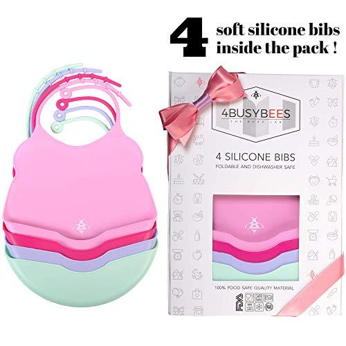 Paquete de 4 Baberos Silicona Bebé Niña y Niño - Colección CANDY - Babero con Goma impermeables - Regalo para Bebé y Recién Nacido - Flexible - Tamaño Pequeño