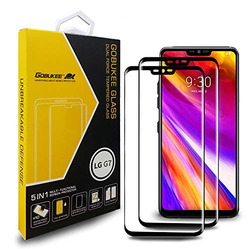 [2 Pack] GOBUKEE for LG G7 ThinQ Screen Protector [Edge of Edge Full Coverage Tempered Glass] Case Friendly,9H Hardness,Bubble Free,HD Clear,Full Adhesive for LG G7 ThinQ