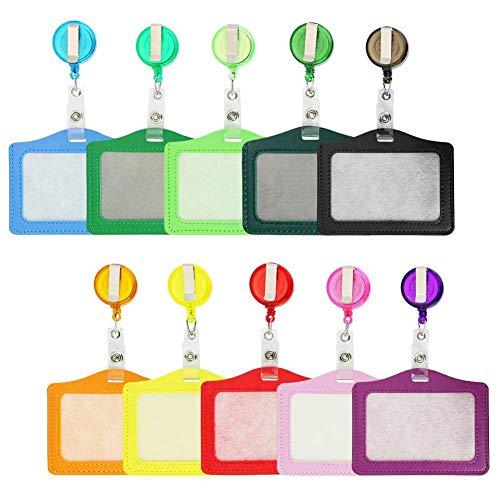 Ausweishülle aus Hartplastik ID Abzeichen Halter Ausweishülle Ausweishalter Kartenhalter Jojo-Befestigungs-Clip einstellbar für Geschäftsereignisse, Ausstellungen, Büro und Schulbedarf,10 Stück