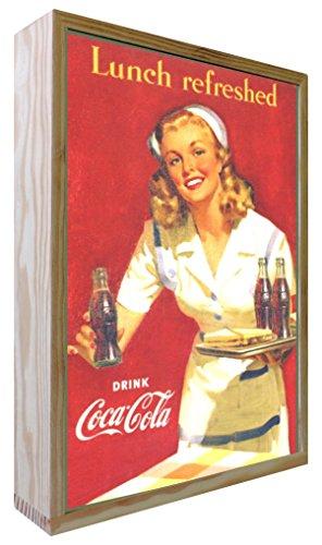 Ccretroiluminados Coca-Cola Lunch Refreshed Poster Vintage illuminés, Bois, Multicolore, 20 x 5.3 x 30 cm