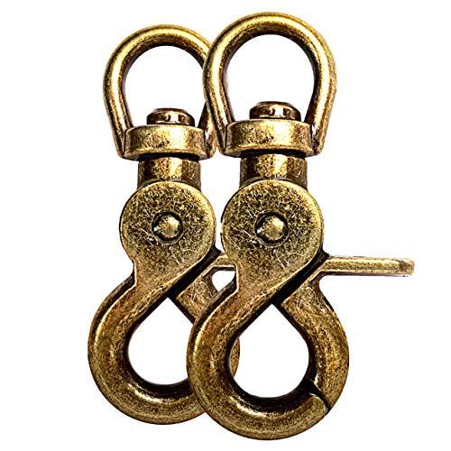 Scheren-Karabiner Haken mit Dreh-Gelenk/Dreh-Kopf für Hunde-Leine/Hals-Band 2er Set, legierter Stahl 61mm Länge, auch für Paracord 550 / Schlüssel-Anhänger, Farbe: Gold-Optik antik