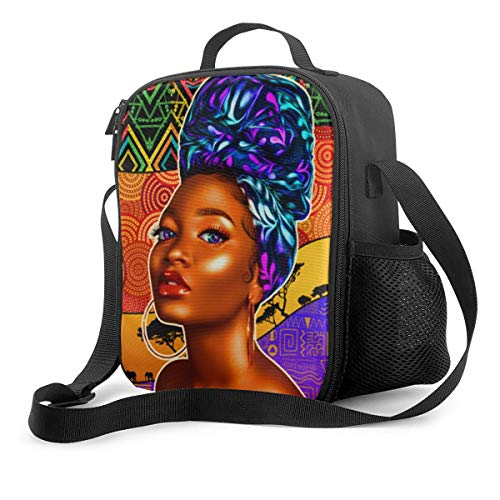 Best Afro Black Women Insulated Lunch Bag-Reusable Thermal Lunch Tote Boxes With Zipper For Kids Travel Work