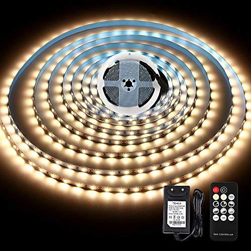 LED Streifen 5M Warmweiss, LED Strip Light mit Fernbedienung & 12V Netzteil, KWODE 3000K weiß Band Leiste Selbstklebend, TV LED Stripes, Wohnzimmer Lichterkette, Lichtband für Küchen Unterschrank
