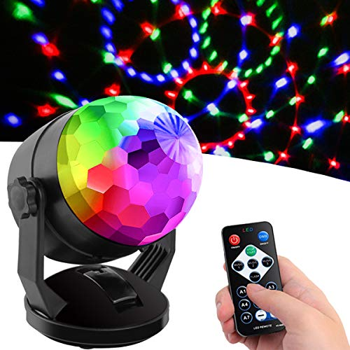 Sound Activated Party Lights with Remote Control, Battery Powered/USB Portable RBG Disco Ball Light, Dj Lighting, Strobe Lamp 7 Modes Stage Party Supplies for Home Room Dance Parties Birthday Karaoke