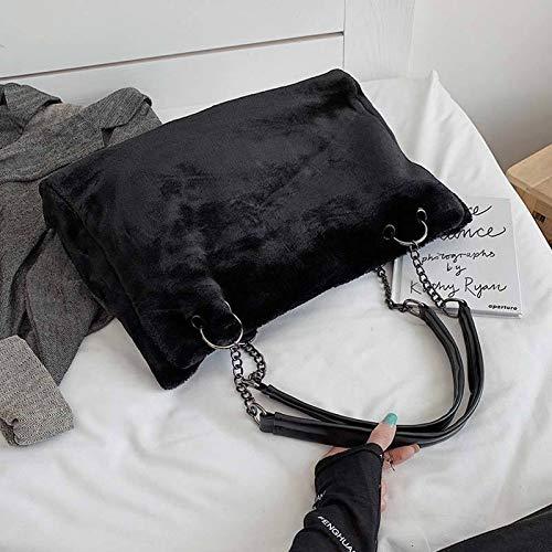 San-Hai Faux Furd Ladies Bolsa de Hombro Casual Peluche Ladies Bolso Bolso Cadena Grande Capacidad Bolsa de Compras Viaje Cartera Mujer Invierno San-Hai (Color : Black, Size : 45X18X14CM)