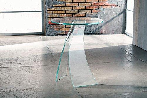 IMAGO FACTORY Jacqueline - Tavolino servetto - Tavolo Lampada in Vetro curvato
