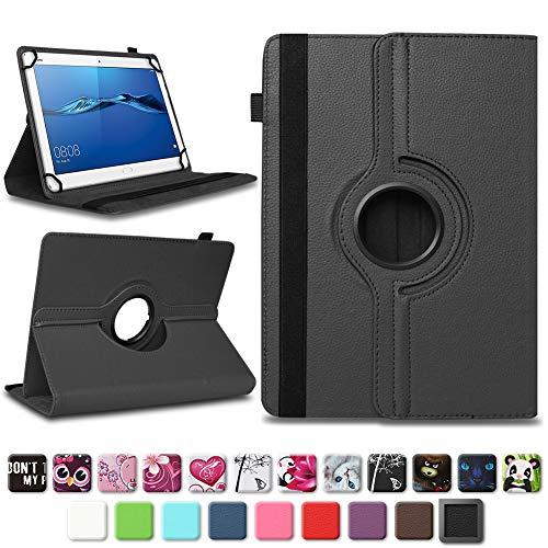 NAmobile Schutzhülle kompatibel für Huawei MediaPad T1 T2 T3 T5 10 Tablet Hülle Tasche Schutzhülle Case 360 Drehbar, Farben:Schwarz