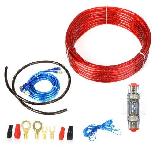 KKmoon Autoradio-Einbausatz, Subwoofer und Verstärker mit 8-Gauge-Netzkabel und 60-A-Sicherung 1500 W