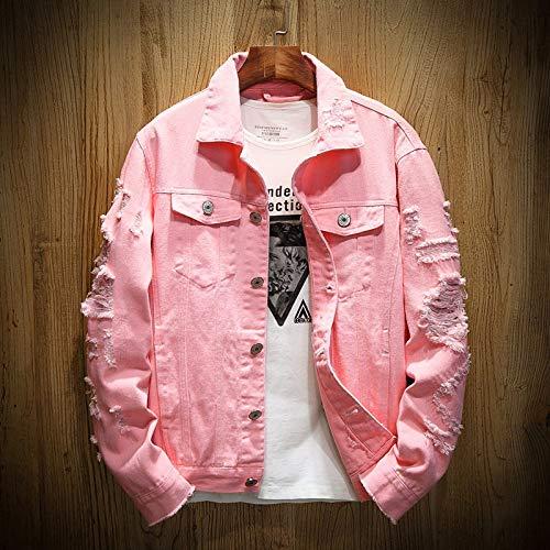 HUITAILANG Giacca di Jeans Uomo, Giacca di Jeans Taglia Grossa Strappata in Cotone Slim Fit, Cappotto alla Moda, Rosa, Piccola