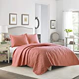 Laura Ashley 3-Piece Cotton Quilt Set, Twin, Coral by Laura Ashley