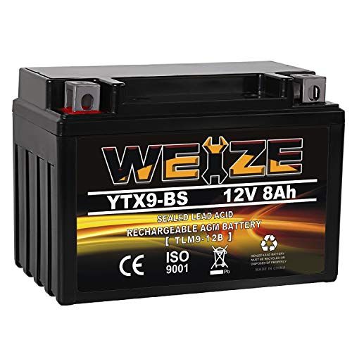 YTX9-BS Battery Maintenance Free For Motorcycle ATV Compatible with Honda TRX 400EX Sportrax Fourtrax GSXR600 LTZ250 ZX600, Polaris Predator 500,Suzuki GSX-R600 YTX9 ETX9 BS Batteries