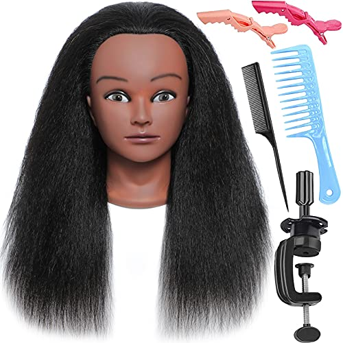 Mannequin Head With Hair - 100% Real Hair Manikin Head Doll Head For Hair Styling Mannequins Cosmetology Head Supplies Hairdresser Braiding Training
