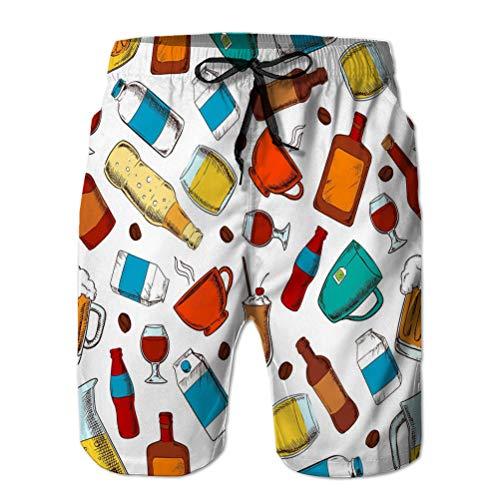 Yuerb Mens Shorts de Secado rápido Swim Beach Shorts Alcohol sin Alcohol Bebidas patrón Bebidas sin Costura café Tazas de té Botellas llenas Vasos Cerveza Soda Vino Whisky Blue Nature