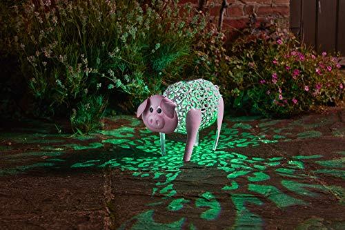 Wunderschöne Metall Garten Deko Figuren Solar Tiere mit LED Beleuchtung und Lichtsensor | wunderschöne Garten Dekoration mit Solar LED Leuchten (Schwein)