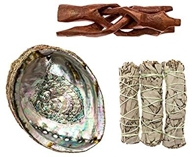 Premium Bundle with 6 Inch or Larger Abalone Shell, Stained Wooden Tripod Stand, and 3 California White Sage Smudge Sticks for Incense Burning, Home Fragrance, Energy Clearing, Yoga, Meditation