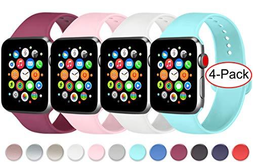 AK Cuatro Correas Compatible con Apple Watch 44 mm 38 mm 42 mm 40 mm, Correa de Silicona Suave de Repuesto para Apple Watch Series 5, Series 4, Series 3, Series 2, Series 1
