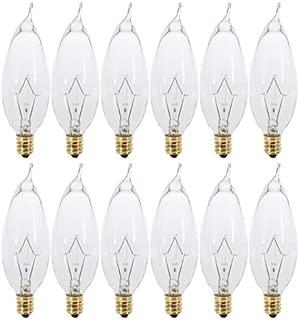 (Pack of 12) 25CFC - 25 Watt Clear Candelabra Base (E12) Flame Tip 120V Decorative Dimmable Chandelier Lights Bulbs