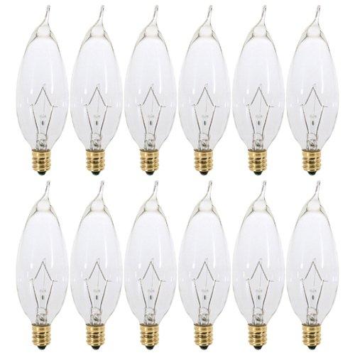 (Pack of 12) 60 Watt Clear Candelabra Base (E12) Flame Tip 120V Decorative Dimmable Chandelier Lights Bulbs