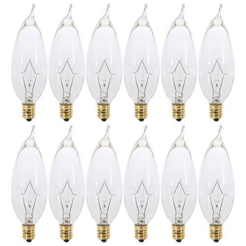 (Pack of 12) 60 Watt Clear Candelabra Base (E12) Flame Tip 120V Decorative Dimmable Chandelier Lights Bulbs