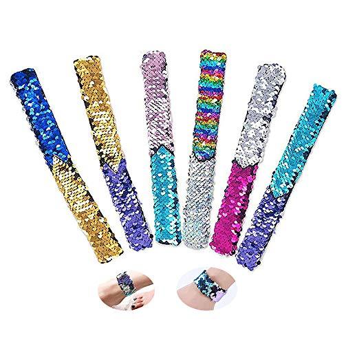 Slap Bracelets, 6 Piezas Reversible Glitter Snap Wristbands Sequins Bracelets,Pulseras de Juguete,Regalo de Fiesta de cumpleaños para niños y niñas favores