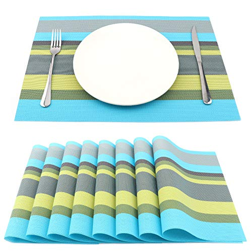 SueH Design Lot de 8 Sets de Table 45 * 30 CM Vinyle Tissé Rayures Bleu Sarcelle et Jaune