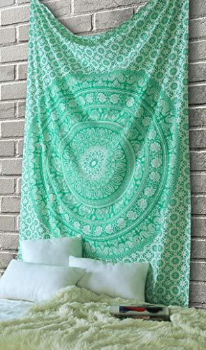 Elephant Mandala Tapestry Cotton Wall Hanging Hippy Tapestries Hippie Beach Throw College Dorm Decor Bohemian Boho Bedsheet - Green -213x137 Inches