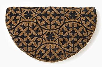 Fab Habitat Handwoven Extra Thick Doormat   Entryway Door mat for Patio Front Door   Decorative All-Season   Blue Tile   Semi-Round   18  x 30  x 1.60