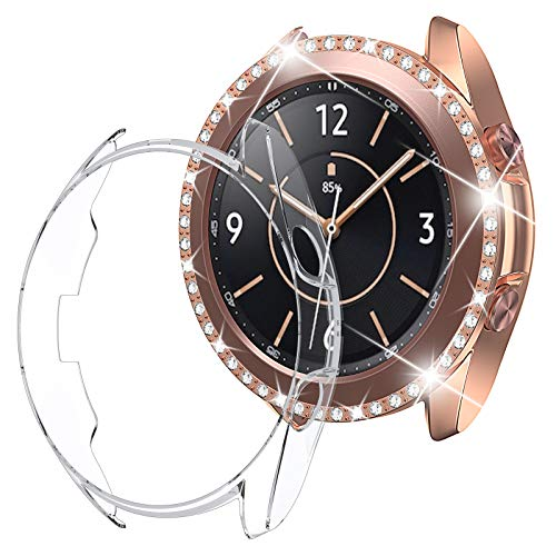 [2Packs] Goton Compatible Galaxy Watch 3 Case Bling 41mm, Women Girl PC Diamond and Soft TPU Watch Bumper Protector Face Case Cover for Samsung Galaxy Watch3 41mm (Bling Rosegold+TPU Clear, 41mm)