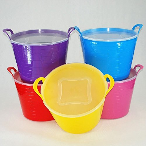 CrazyGadget® 42L 42 Litre Large Flexi Tub Garden Home Flexible Colour Rubber Storage Container Bucket - Made in U.K. (Pack of 5)