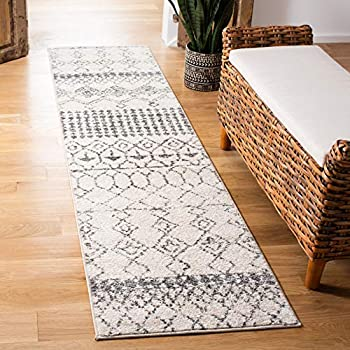 Safavieh Tulum Collection TUL229A Moroccan Boho Distressed Non-Shedding Stain Resistant Living Room Bedroom Area Rug 2  x 5  Ivory / Grey