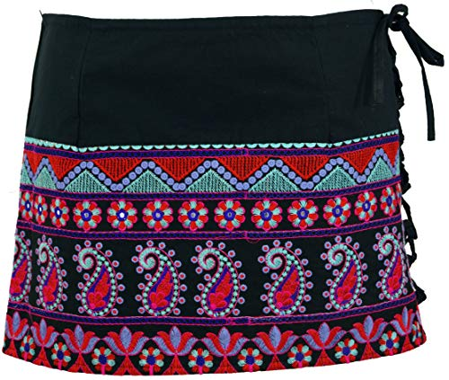 Guru-Shop - Minifalda de estilo boho bordada, para mujer, algodón, falda o corta negro/azul S