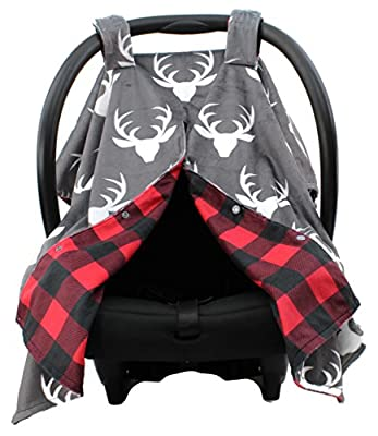 Dear Baby Gear Deluxe Reversible Car Seat Canopy, Custom Minky Print Plaid White Antlers, Red and Black Buffalo Plaid Minky