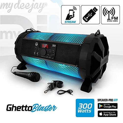 Enceinte Sono Mobile LED RVB 300W - USB/BT + Micro - PowerBank - MyDJ Ghetto Blaster
