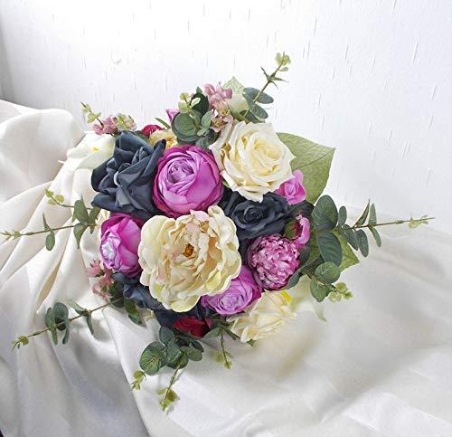 Brautstrauß künstlich, rosa creme, Hochzeitsaccessoires, Braut Strauss, Brautbouquet
