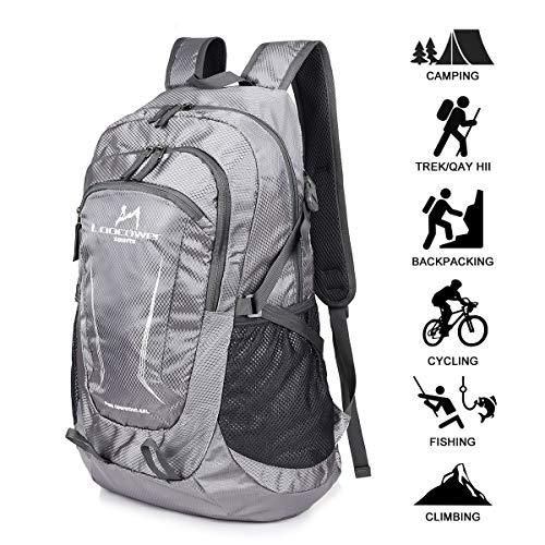 Loocower 45L Leichte Packable Reiserucksack Wanderrucksack, Multifunktionale Tagesrucksack, Faltbare Camping Trekking Rucksäcke, Utra Leicht Outdoor Sport Rucksäcke Tasche (06.Grau)