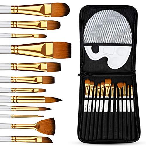 Pitello 12er Pinselset Malen für Acryl, Aquarell und Ölfarben I Acrylpinsel Set mit Palette und Tasche I Aquarellpinsel, Künstlerpinsel, Pinsel