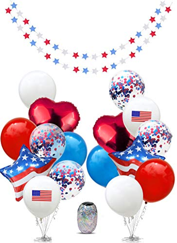 4th of July Decor, Fourth of July Decor, Independence Day Decorations, Memorial Day, Veterans Day,Military Homecomings, Patriotic, Red White and Blue Decorations, Star Garlands Decor, US America Flag, USA American Flags, Garland, Mylar Foil, Latex Balloons for Party Favors Decorations Supplies