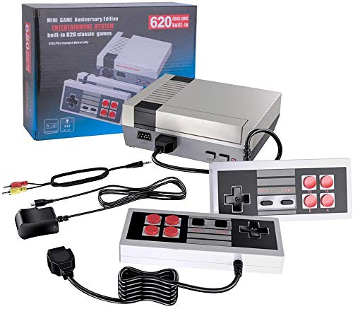 Retro game console, AV HD Output - NES Console with Built-in 620 NES Classic Edition Retro Games and 2 Controller.Supporting & TV Connection,-Four buttons