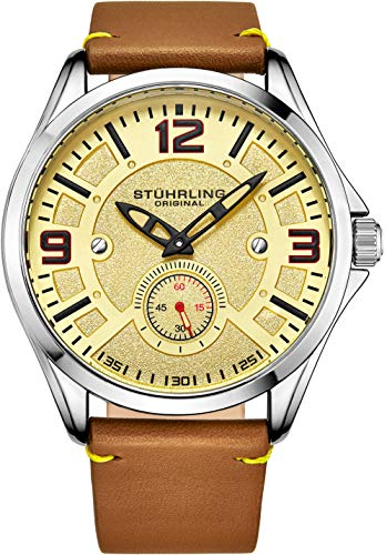 Stuhrling Original Mens Leather Watch -Aviation Watch, Quick-Set Day-Date, Leather Band with Steel Rivets, Men Watch Collection (Light Brown)