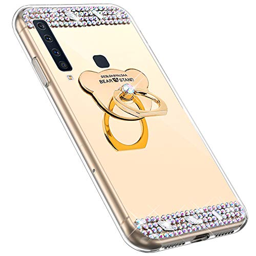 MoreChioce kompatibel mit Galaxy A9 2018 Hülle,kompatibel mit Galaxy A9 2018 Handyhülle, Bling Glitzer Spiegel Silikon Diamant Schutzhülle Bumper mit Ring Ständer,Rosa Bär